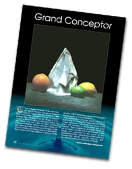 page from a magazine article showing a photo of the Grand Conceptor Award.