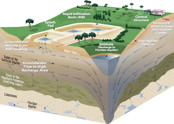 Reclaimed Water is Refined as it Travels From the Rapid Infiltration Basin to the Floridan Aquifer Below